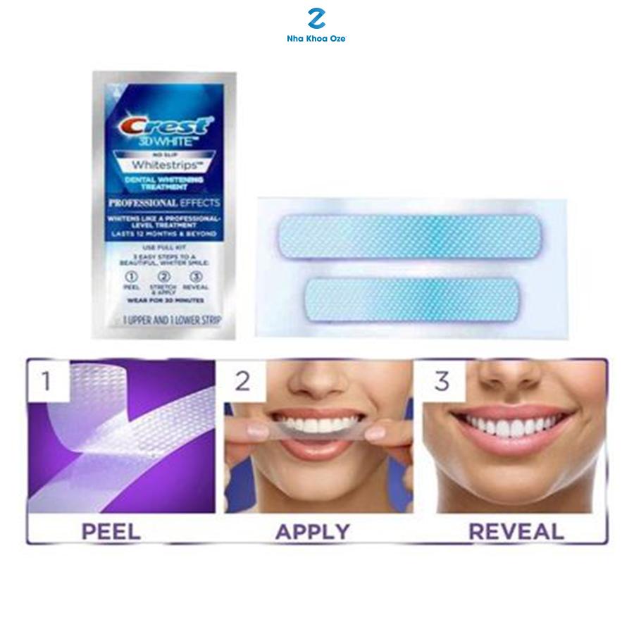 Các bước sử dụng miếng dán trắng răng